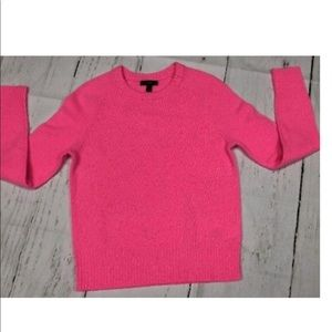 J CREW HOLLY CREWNECK 100%  WOOL SWEATER PINK
